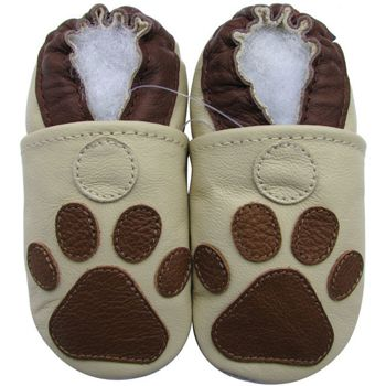 Chaussons cuir souple Paw beige Carozoo