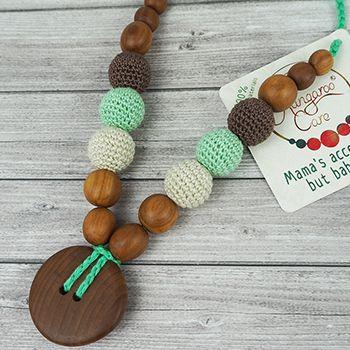 Collier d'allaitement / portage KangarooCare bouton Menthe/chocolat