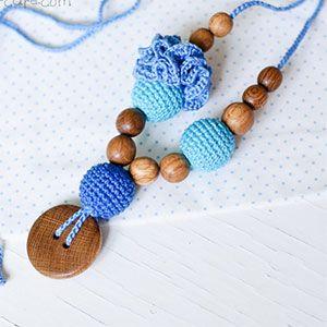 Collier d'allaitement / portage KangarooCare Flower turquoise/bleu