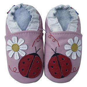 Chaussons cuir souple Ladybug flower pink Carozoo