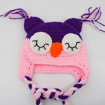Bonnet en crochet hibou Rose clair - violet