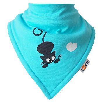 Bavoir bandana Lookidz Chat/coeur Turquoise