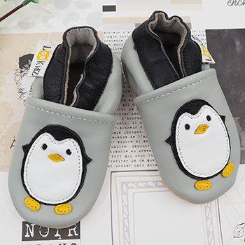 Chaussons en cuir Lookidz Pingouin gris