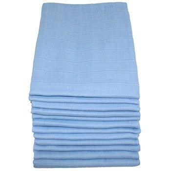 Lot de 12 langes à plier en coton MuslinZ Bleu