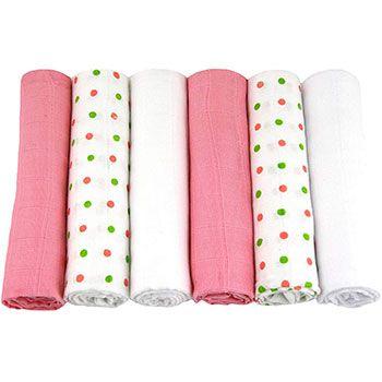 Lot de 6 langes à plier MuslinZ Rose/blanc/vert