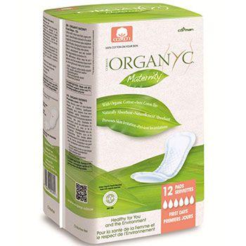 Serviettes maternité en coton bio Organyc