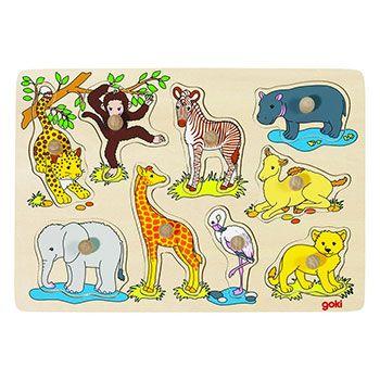 Puzzle à encastrement bébés animaux d'Afrique Goki
