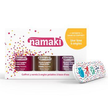 Coffret vernis à ongles Namaki Framboise, Or & Fuchsia