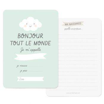 """Carte de naissance """"Bonjour"""" bleue Zü"""