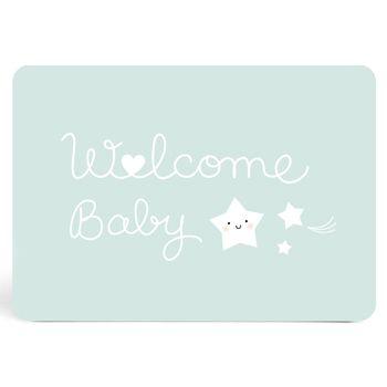 """Carte """"Welcome Baby"""" bleue Zü"""