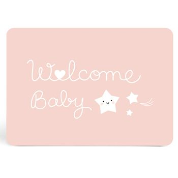 "Carte ""Welcome Baby"" rose Zü"