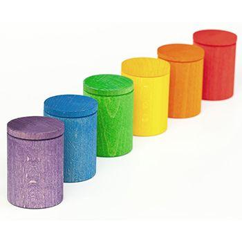 Jouet libre Grapat - 6 contenants avec couvercles multicolores en bois