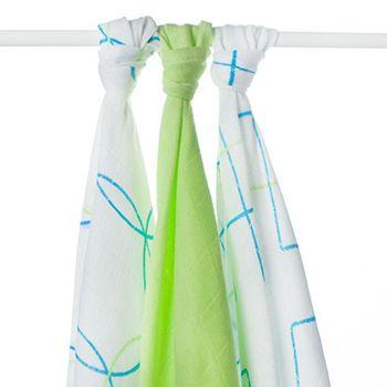 Lot de 3 mini-langes en mousseline de bambou Ronds et Carrés Xkko - bleu/vert