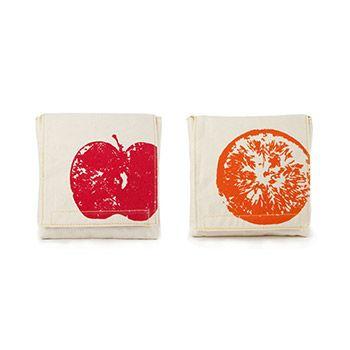 Lot de 2 pochettes réutilisables en coton bio Fluf - Pomme/orange