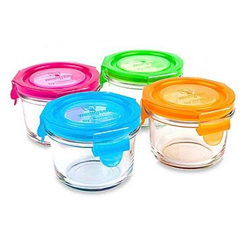 4 pots de conservation ronds en verre Wean Green 160ml