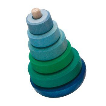 Pyramide en bois bancale Grimm's - bleu