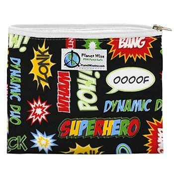 Sac à sandwiches zippé réutilisable Superhero Planet Wise