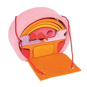 Mobil-home en bois Grimm's - Rose/orange