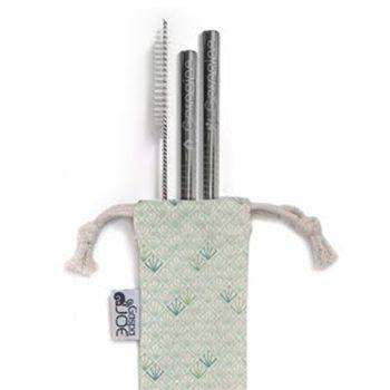 Set de 2 pailles Smoothie en inox avec goupillon et pochette Gaspajoe