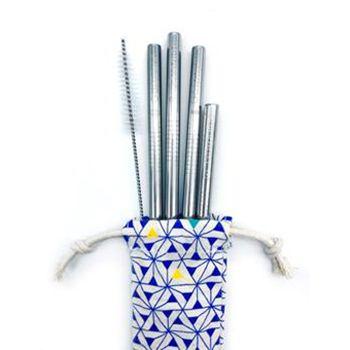Set de 4 pailles en inox avec goupillon et pochette Gaspajoe - cocktail