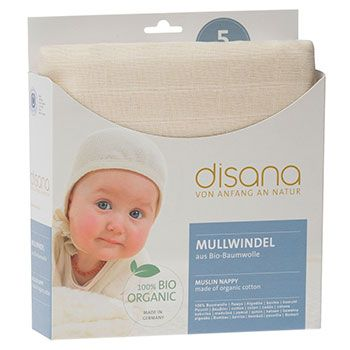 Lot de 5 langes fins en coton bio Disana