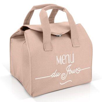 """Sac lunch bag isotherme """"Menu du jour"""" Créabisontine - Rose"""