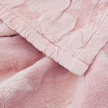 Couverture en chenille et coton bio Star Kadolis - 100x140 rose poudré