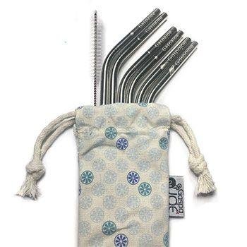 Set de 6 pailles en inox avec goupillon et pochette Gaspajoe