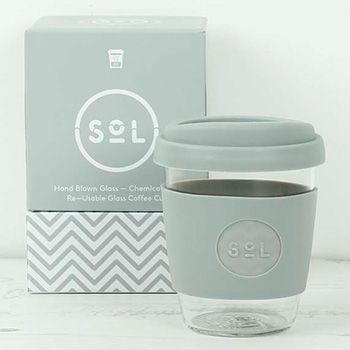 Mug café verre et silicone SoL - Cool Grey