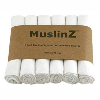 Lot de 6 langes en bambou et coton bio blanc Muslinz