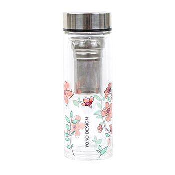 Théière en verre double paroi Yoko Design Fleurs roses