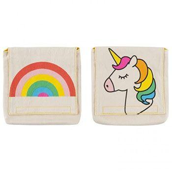 Lot de 2 pochettes réutilisables en coton bio Fluf Rainbows