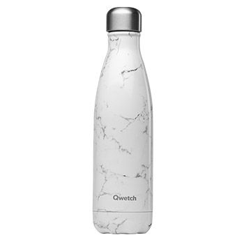 Bouteille isotherme Qwetch 500ml - Marbre blanc
