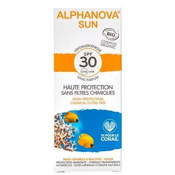 Crème solaire hypoallergénique Visage bio SPF 30 Alphanova