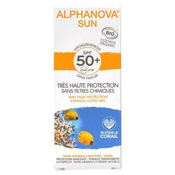 Crème solaire hypoallergénique Visage bio SPF 50 Alphanova