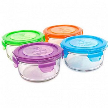 4 pots de conservation ronds en verre Wean Green 370ml