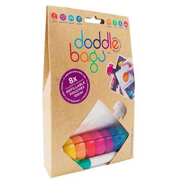 8 gourdes réutilisables Doodle Bags 100ml + feutre