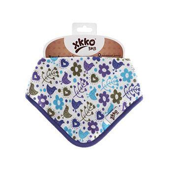 Bavoir bandana en bambou XKKO - Fleurs & oiseaux violet