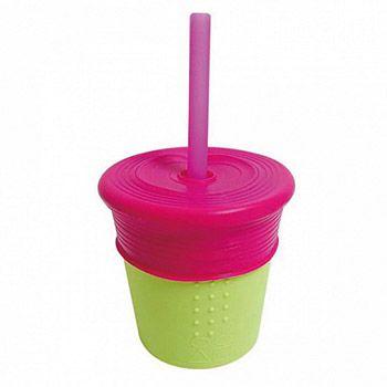 Verre en silicone avec paille et capuchon Silikids - Rose/vert