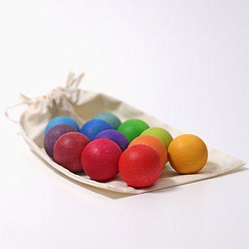 12 petites boules en bois Grimm's - Pastel
