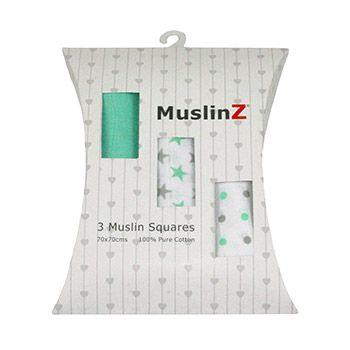 Coffret cadeau langes 70x70cm Muslinz Mint Star