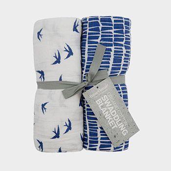 2 langes en mousseline de coton bio Imse Vimse - Bleu