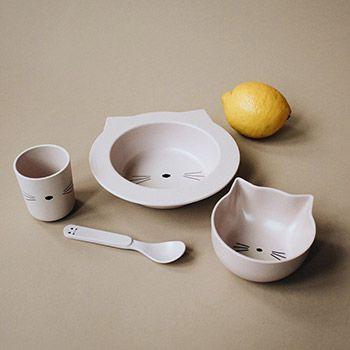 Coffret vaisselle en bambou bébé Liewood - Chat rose