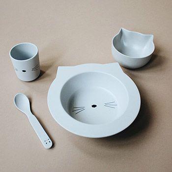 Coffret vaisselle en bambou bébé Liewood - Chat gris