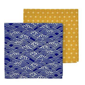Lot de 2 emballage écologique Furoshiki Gaspajoe - Etoiles or/vagues