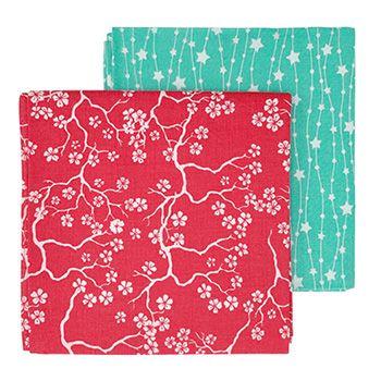 Lot de 2 emballage écologique Furoshiki Gaspajoe - Cerisier/étoiles
