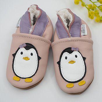 Chaussons en cuir fourrés Lookidz Pingouin rose