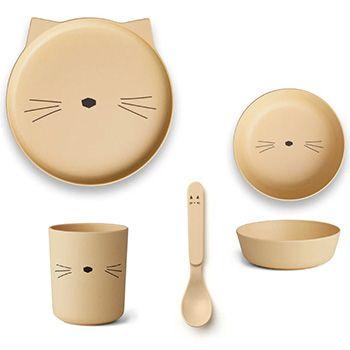 Coffret vaisselle en bambou Liewood - Chat jaune clair