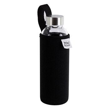 Bouteille en verre 500ml avec housse noire Yoko Design