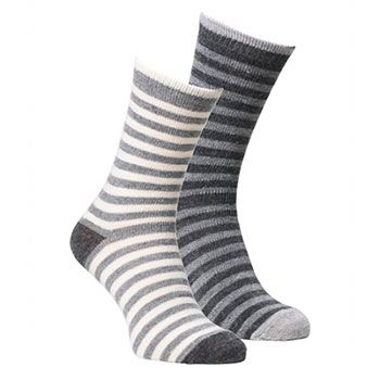 Lot de 2 paires de chaussettes en laine/alpaga Fellhof - Beige & Gris